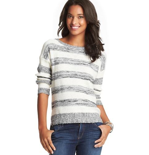 Striped Textured High-Low Hem Sweater | Loft