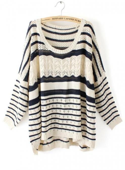 Hollow out Pretty Striped Black Sweater$39