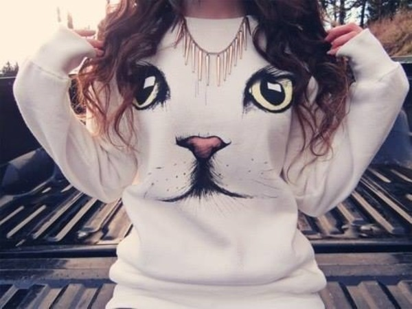 sweater clothes cats jumper white face cute