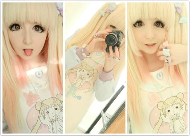 hat wig lolita fairy kei hair blonde hair