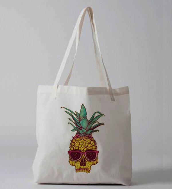 bag pineapple pineapple print pineapple bag skull skull bag tote bag tote bag tote bag purse canvas tote