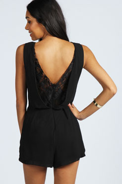 Sienna Lace Plunge Back Chiffon Playsuit at boohoo.com