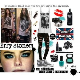 skinny effy stonem skins black jeans jeans t-shirt grunge