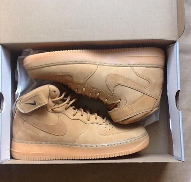 shoes camel nike air force 1 sneakers nike air