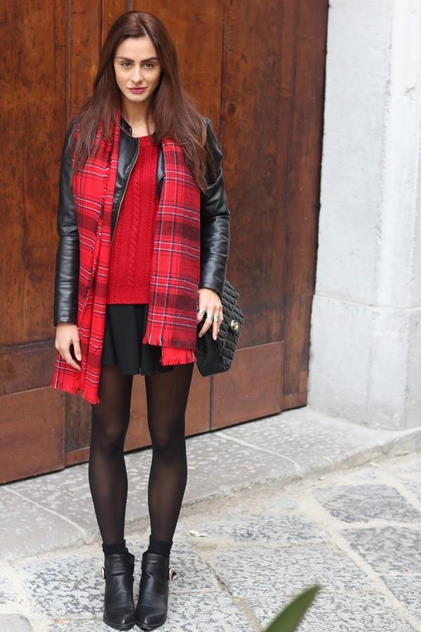 marie zamboli sweater bag shoes scarf skirt