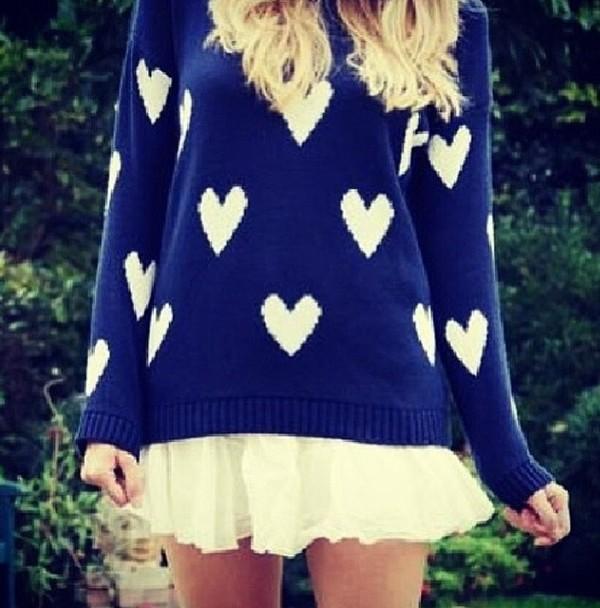 sweater dark blue blue white hearts heart cute jumper heart sweater