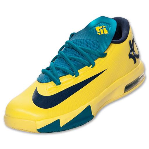 Boys' Grade School Nike KD VI Basketball Shoes| FinishLine.com | Sonic Yellow/Mid Navy/Teal