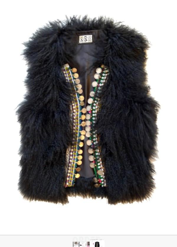 jacket black sheep fur indian aztec beaded