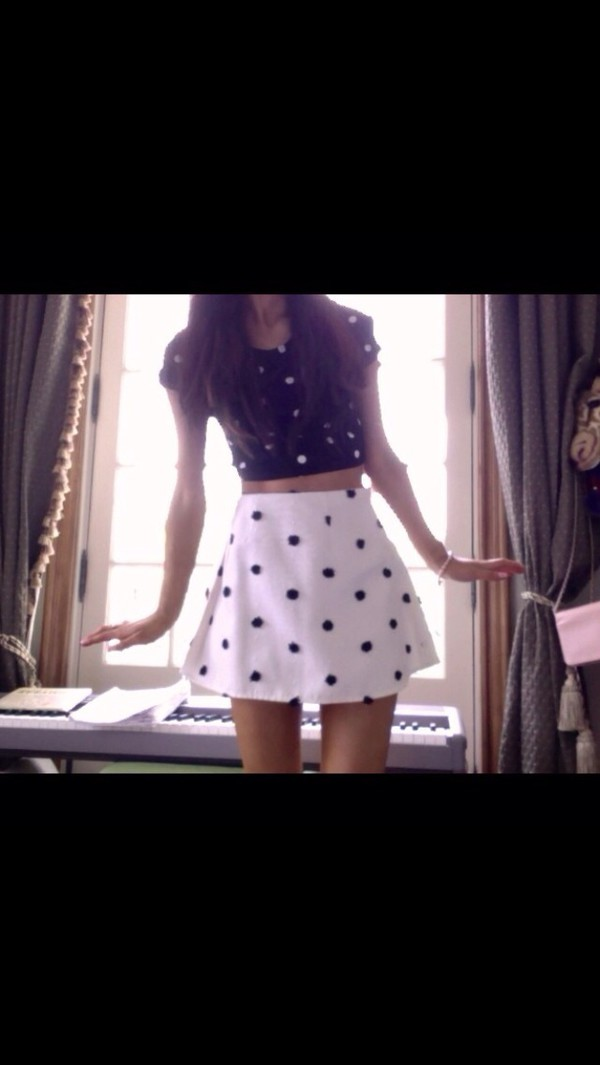 shirt skirt crop top ariana grande black white polka dots
