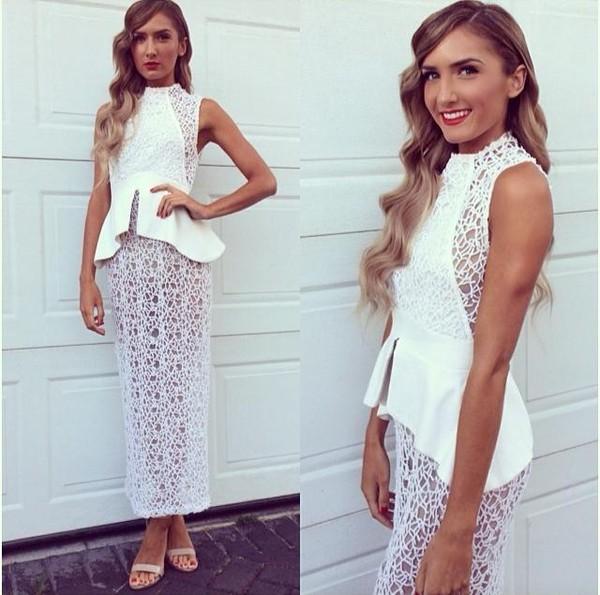 dress lace crochet white maxi formal evening outfits gown evening dress formal dress formal gown peplum dress bodycon dress peplum nude heels red lipstick ivory