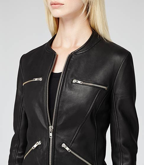 Opal Black Collarless Leather Jacket - REISS