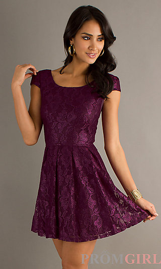 Purple Lace Short Prom Dress, Cap Sleeve Party Dresses- PromGirl