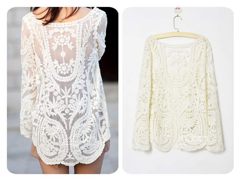 XCLOTH Women Lace Floral Tops Blouse T001 Sheer Lace Tunic Tank Top Crochet Blouse Ivory Lace Blouse on Luulla