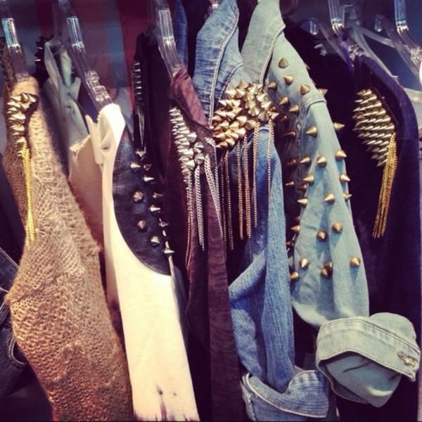 jacket jeans studs studded punk hipster punk hipster shirt blouse