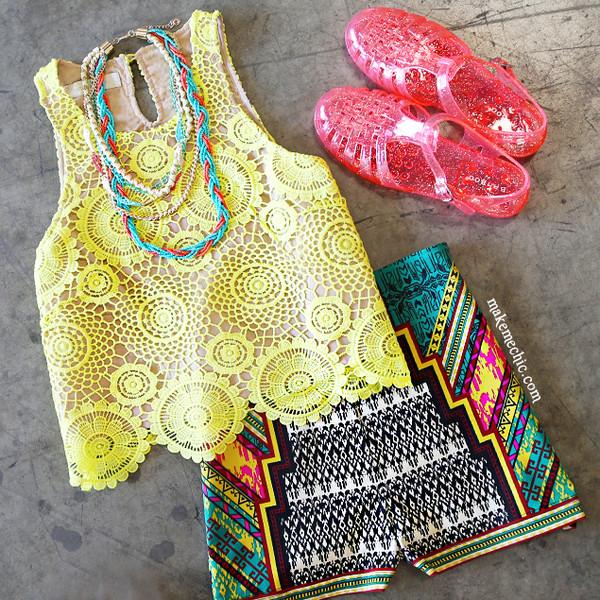 High waisted shorts crochet crop top tribal pattern jellies shorts