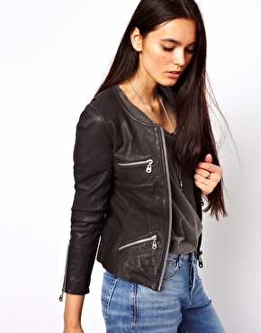 Doma | Doma Fitted Leather Jacket with Zip Detail at ASOS
