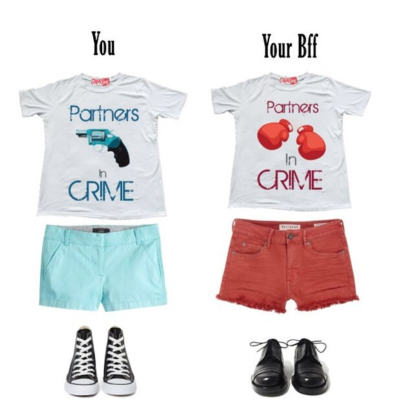 t-shirt crime partners bff cute shirt outfit shoes