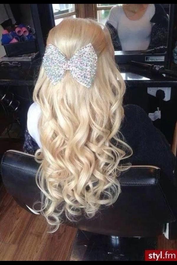 jewels hair bow blonde hair long hair curly hair hair prom beauty hat hairstyles bows big hair bow