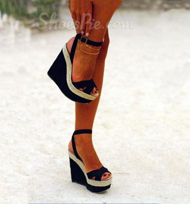 Awesome Contrast Colour PU Wedge Sandals