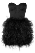 Feather-embellished satin bustier dress | THE OUTNET
