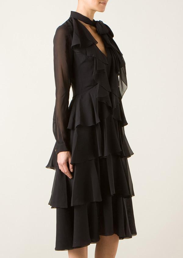 dress jason wu black silk tiered dress