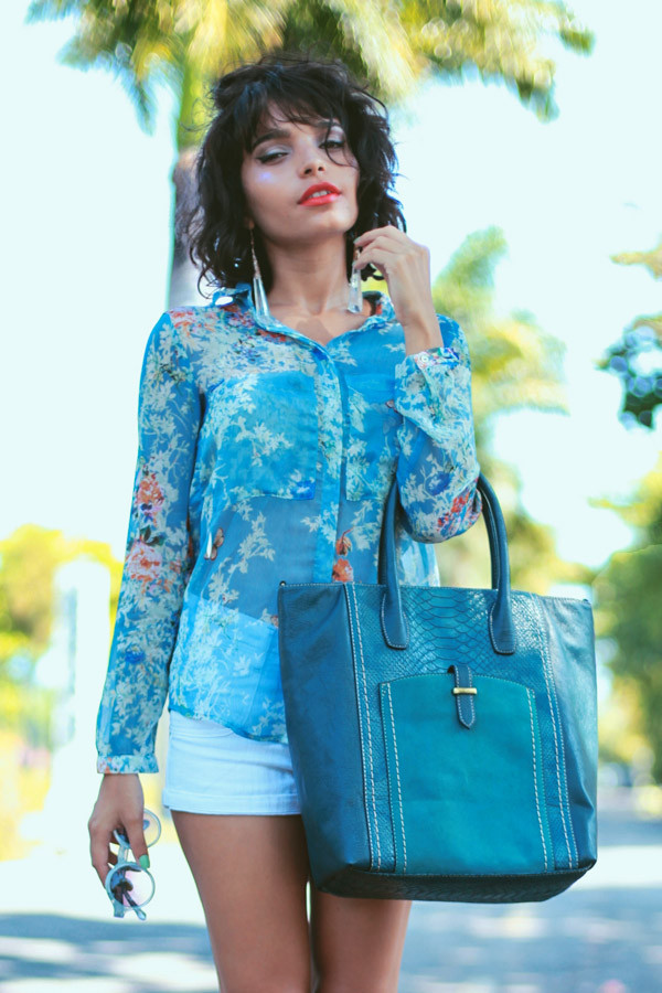 instinto de vestir blouse sunglasses shorts shoes bag