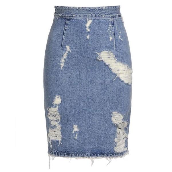 ACNE 'Fine trash' distressed denim skirt - Acne Studios - Polyvore