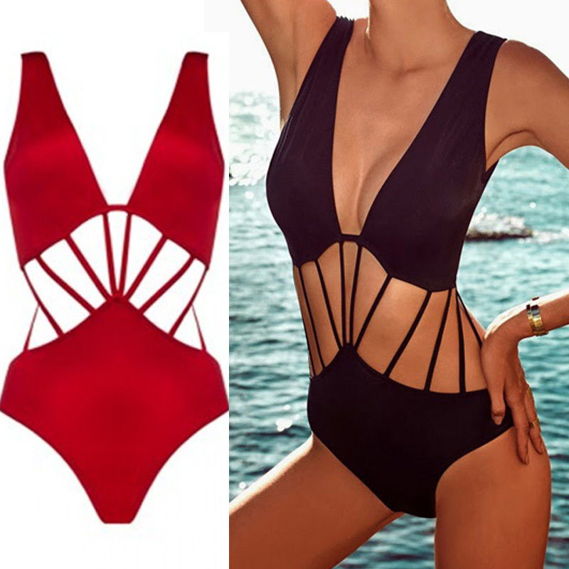 1PCS Sexy Beach Bikini Swimwear Cut-Out Floral Monokini Swimsuit Strappy #141 | eBay