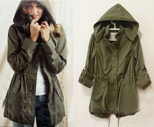 New Woman Lady Girl Army Green Hoodie Drawstring Military Oversized Jacket Coat | eBay