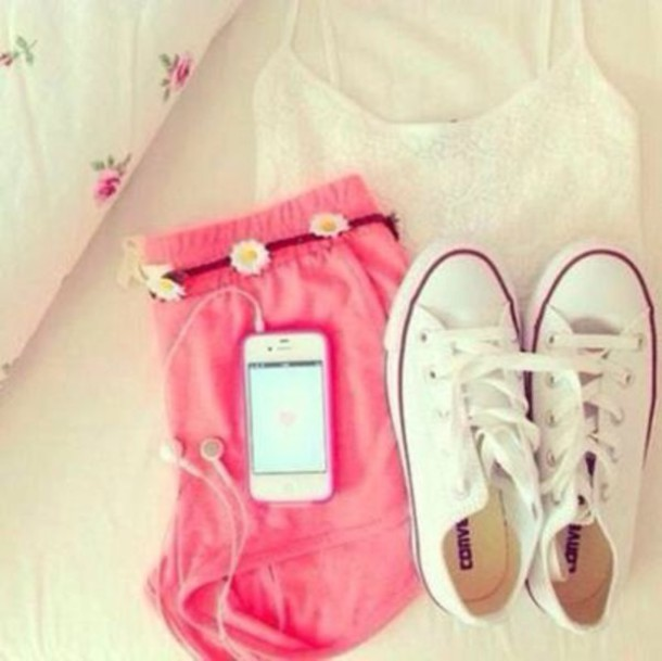 shorts pink shorts with flowers arouund the waist