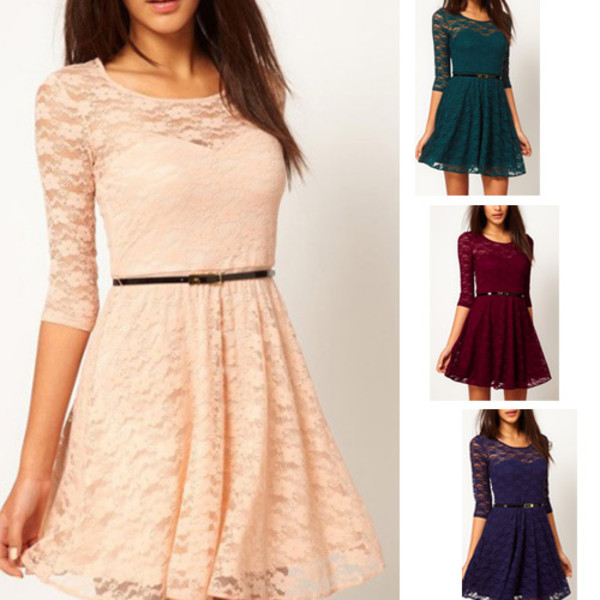 sleeve lace dress dress with belt women dress sexy lace dress neck 3/4 dress ladies dress