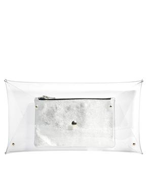Klear Klutch | Klear Klutch - Grande pochette transparente avec petite pochette en cuir argenté chez ASOS