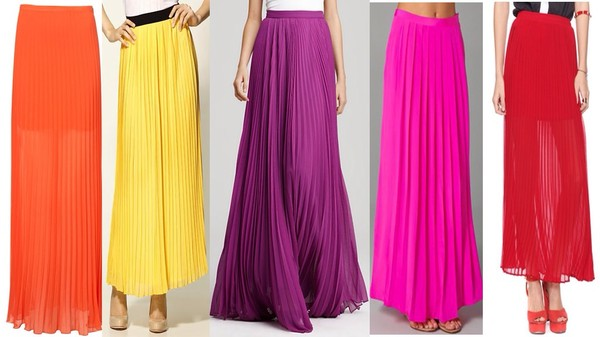 skirt maxi skirt pleated colourful