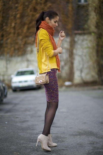 from brussels with love blogger scarf yellow knitted sweater bodycon skirt rust sweater shoes bag