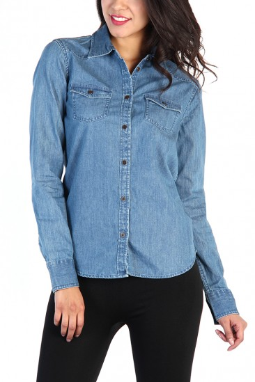 LoveMelrose.com From Harry & Molly | Denim Button Up Shirt - Blue