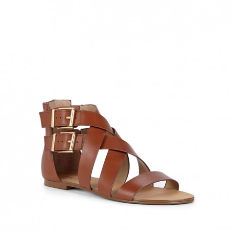 Women's Equestrian Tan Leather 1/4 Inch  Leather Gladiator Sandal | Nancie by Sole Society