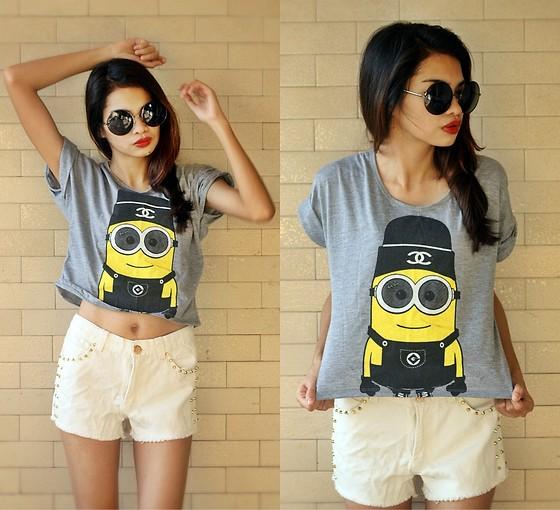 Round Oversized Sunnies, Minion Cropped Shirt, Flirt La Gold Studded White Shorts - One in a Minion  - Cherrish Feliminiano | LOOKBOOK