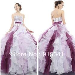 stijlvolle elegante strapless kralen organza ruches rok witte en paarse quinceanera jurken