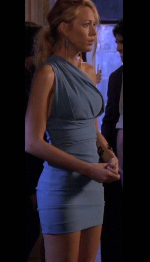 dress blue gossip girl blake lively serena van der woodsen light blue blue dress one shoulder one shoulder dress
