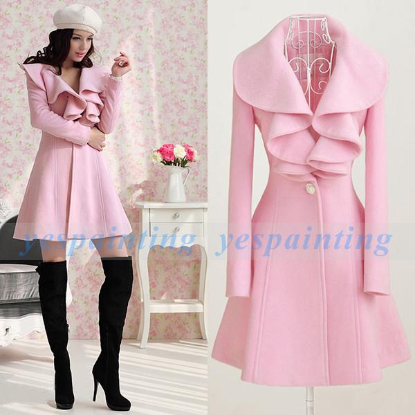 Korean Fashion Women's Pink Wool Parka Trench Coat Jacket Slim Outwear M L XL | eBay