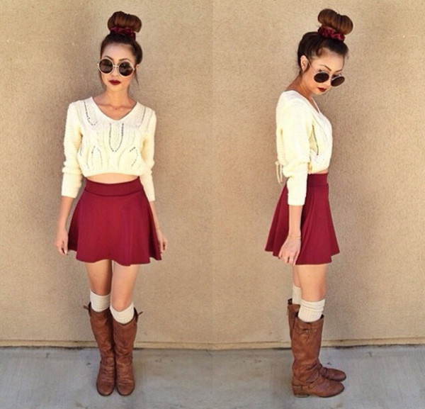 clothes brands tumblr girl skirt sunglasses sweater