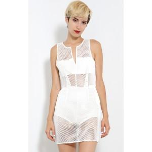 Netted Censored Bodysuit Dress | MakeMeChic.com