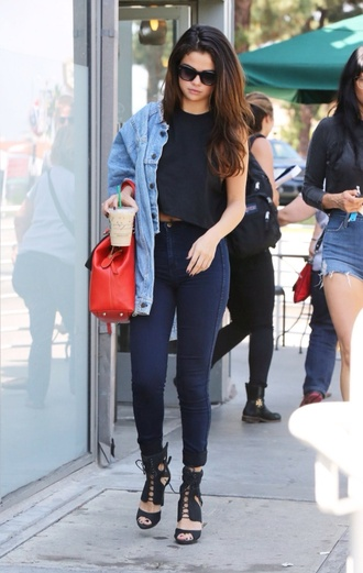 jeans selena gomez navy high waisted jeans jacket underwear shoes shirt black denim glasses celebrity edgy denim jacket