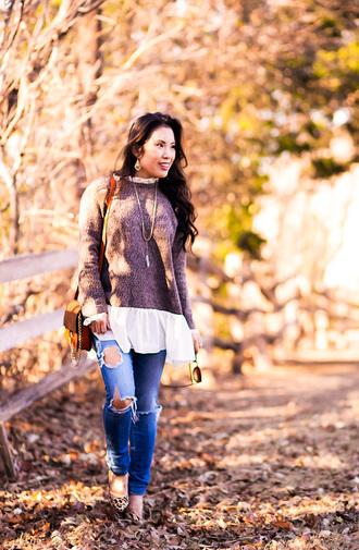 cute & little blogger jewels top sweater leggings jeans shoes bag sunglasses brown bag shoulder bag