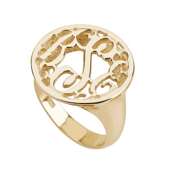 Gold Monogram Ring- Round