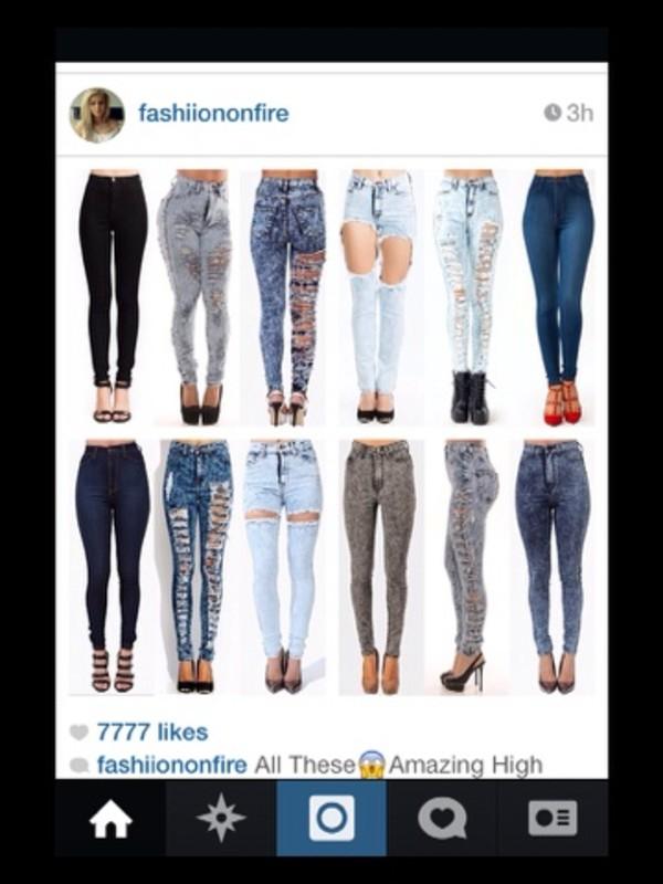 jeans high waisted skinny jeans acid wash jeans ripped jeans blue wash ripped skinny jeans shoes