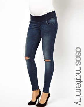 ASOS Maternity | ASOS Maternity Ultra Skinny Jean in Mid Vintage Wash with Knee Rips at ASOS