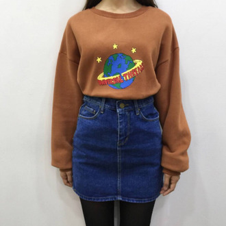 sweater sweatshirt earth universal stars 90s style camel caramel threads vintage oversized sweater cropped sweater science planets space winter outfits a beautiful mess brown