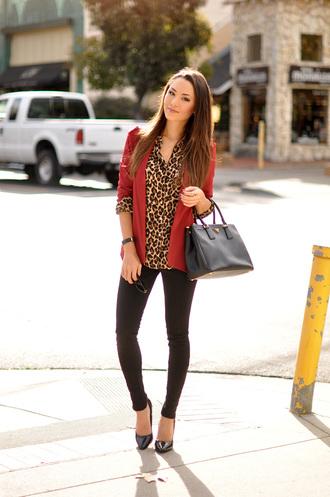 hapa time blogger jacket jewels bag leopard print red jacket