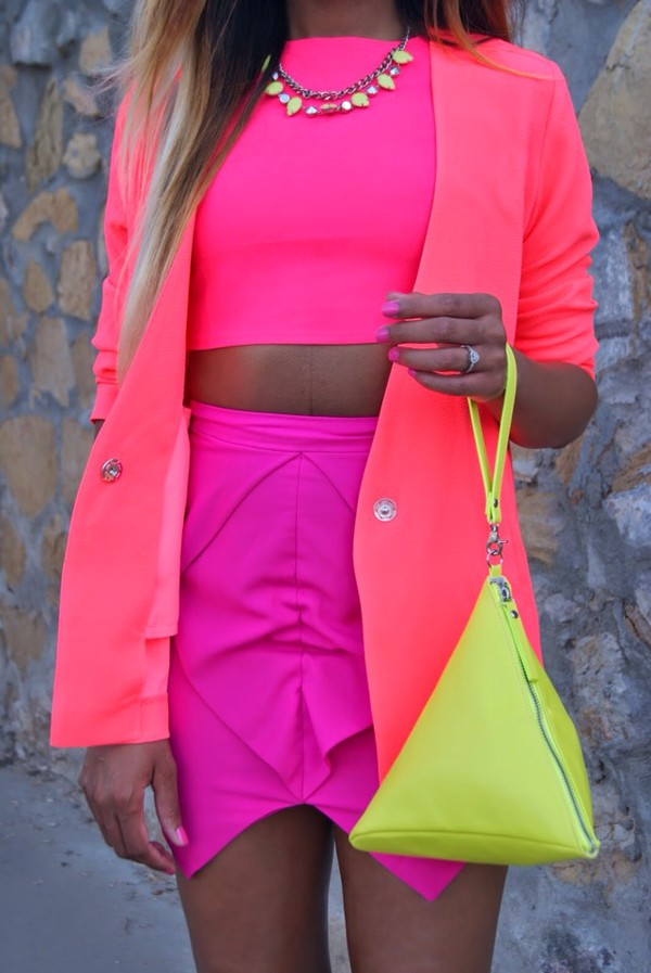 jacket skirt bag shoes jewels top neon bright pink cropped crop tops summer